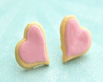 heart sugar cookies earrings-miniature food jewelry, food earrings
