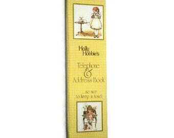 Holly Hobbie's Telephone and Address Book. 1975 Vintage. Unused. Holly Hobby Collectable. John Sands Pty. Ltd. Yellow Gingham print. 70s