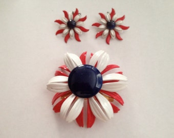 1960's Enamel Flower Patriotic Pin and Earrings Set /Red, White and Blue