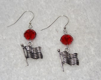 July 4th Earrings: Red Glass Beads with Silver Flag Charms