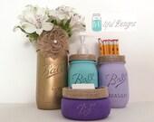 Items Similar To Desk Organizer Mason Jar Set Hand