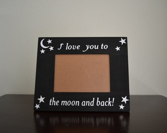 i love you to the moon and back hand painted 5 x 7 frame wooden picture frame stars and moon