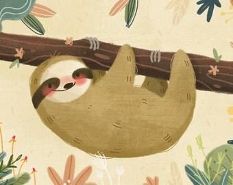 Floral Sloth Mini Print