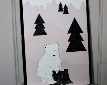 "A4 poster / children Illustration ""Polar bear"""