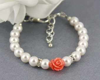Flower Girl Bracelet, White Pearl and Flower Bracelet, Swarovski Bracelet, Bridal Jewelry, Flower Girl Gifts, Coral Flower Bracelet