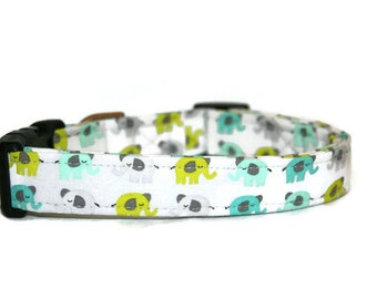 Blue, Teal, and Gray Elephants Dog Collar