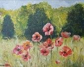 Original painting Poppy field Red Pink Home decor Wall Art  Poppy field