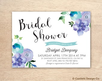 Printable Custom Bridal Shower Invitation - Purple and Blue Florals - DIY printing