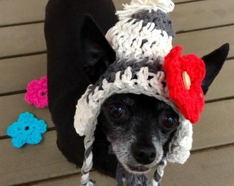 Crochet hat for dogs, small dog clothing, chihuahua hats, small dog hats, hats for chihuahuas, pet clothes.