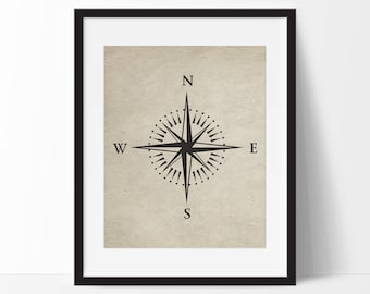 Vintage Compass Art Print - Travel Art Print - Wall Art