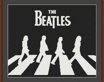 Beatles Black And White Abbey Road Counted Cross Stitch Pattern in PDF for Instant Download