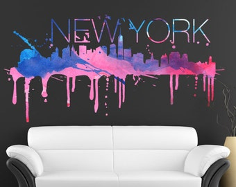 New York City Skyline Watercolor Effect Sticker - NYC Home Design - NY Art Print - New York Wall Decals
