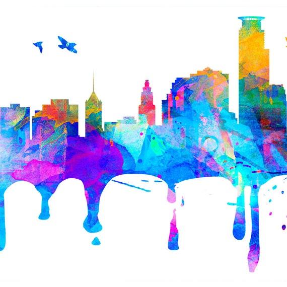 Minneapolis Painters: Minneapolis Skyline Print Gift Minnesota Watercolor City