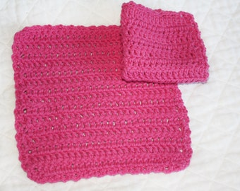 Two Crocheted All Cotton Dishcloths, Pink Dishcloths, Eco-friendly, Cotton Crocheted Washcloths