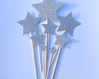 Silver Star Cake Toppers, Silver Glitter Star Cake Toppers, Birthday Cake Toppers, Assortment Pack
