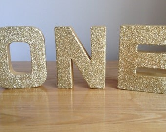ONE Freestanding Gold Letters, ONE Birthday Party Decor, 1st Birthday ONE Gold Paper Mâché Letters