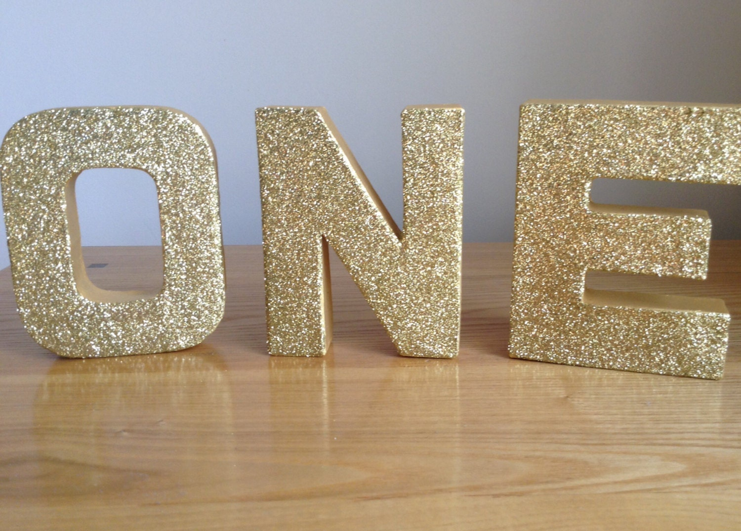 One freestanding gold letters one birthday party decor 1st for Decoration 5 letters