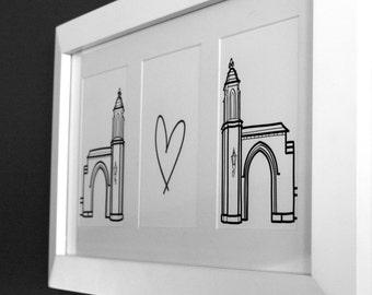 Indiana University Sample Gates Print with White Frame