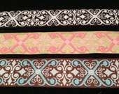 1 Inch Wide Geometric Patterned Polyester Ribbon in Brown/Blue, Black/White and Green/Pink, Made in the USA