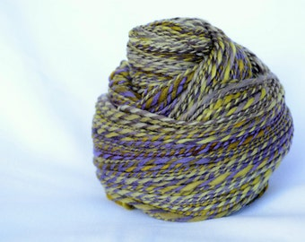 Lavender and lime handspun merino yarn