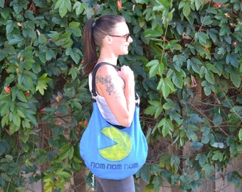 Pacman purse, Upcycled purse, Slouch purse, T-shirt purse, 80's purse, Pacman.