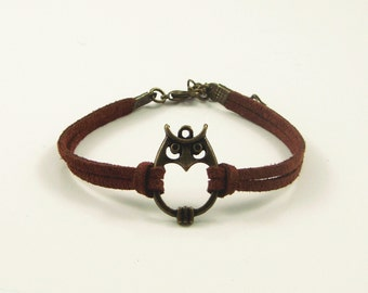 Particular handmade leather cord bracelet,owl,vintage,bangle,personalized(P13)