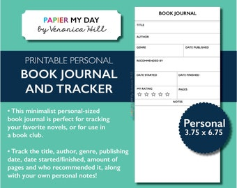 Personal Size Book Journal - Book Club Reading Log for TN and Filofax Personal Planners