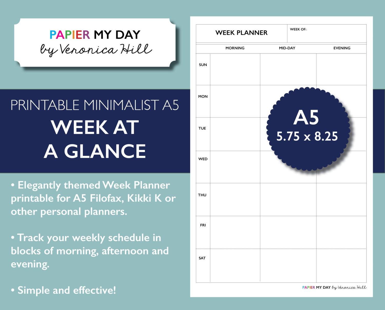 a5 filofax week at a glance week on one page minimalist