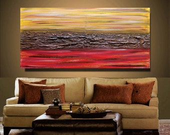 Abstract Painting Contemporary Oil painting yellow brown red Landscape painting Acrylic painting Surreal Heavy Texture
