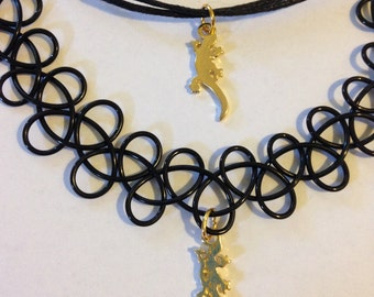 Baby gold lizard charm on tattoo choker or adjustable cord choker necklace