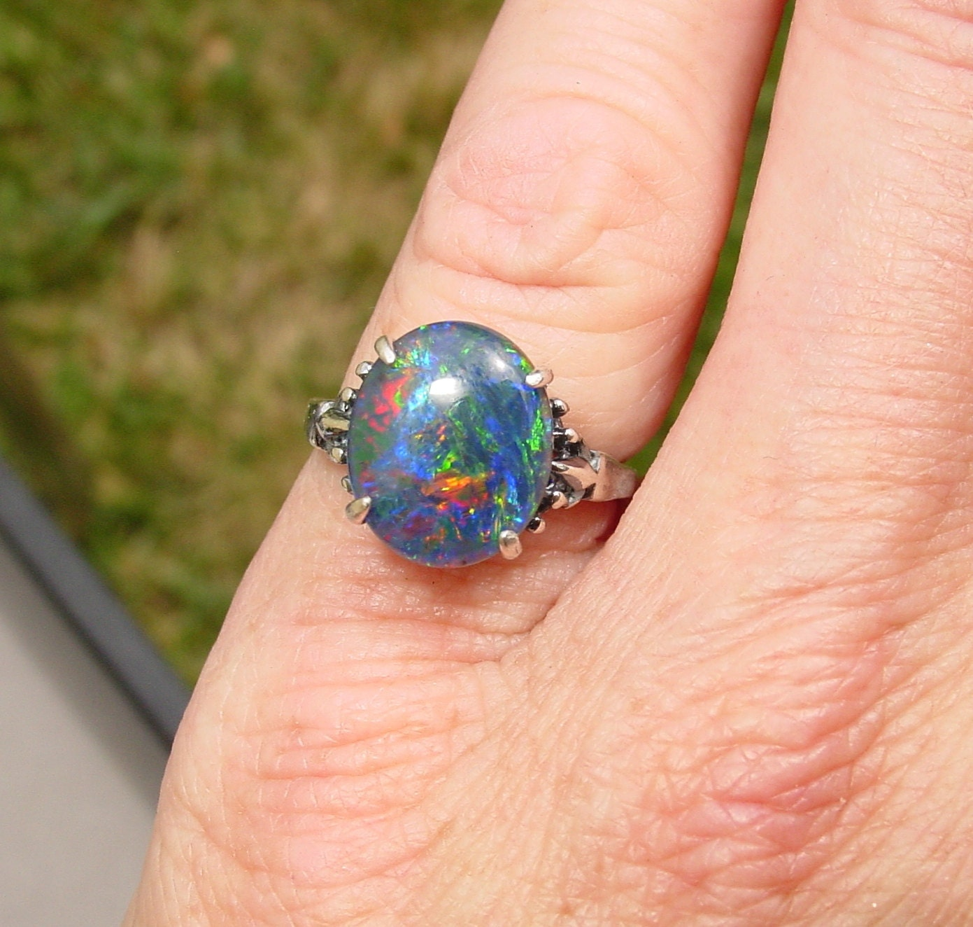 Opal Engagement Ring 12x10mm Opal Natural by AmyKJewels