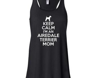 Keep Calm I'm An Airedale Terrier Mom Flowy Tank Top. Airedale Terrier Tank Top. Airedale Terrier.  Dog Mom Tank. H12