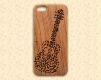 Guitar iPhone 6 Case, Wood iPhone 6 plus case, music iphone 5 case, wooden iphone 5c case, musical iphone 4 case, engraved iphone case