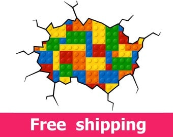 Geometric lego wall decal colored building blocks lego decal plastic  construction blocks lego wall sticker abstract wall art cracks [FL086]
