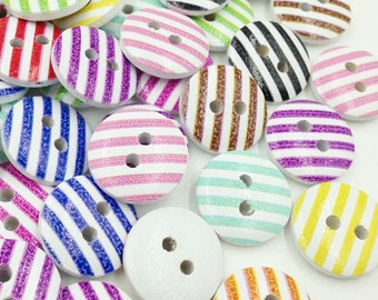 100pc Line Wood Buttons 15mm Sewing Craft 2 Holes Wholesales WB279