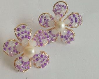 earrings, flowers earrings, handmade earrings, purple earrings, stud earrings