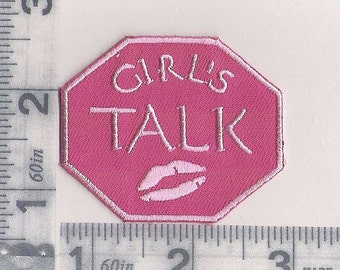 Pink GIRL'S TALK iron on patch