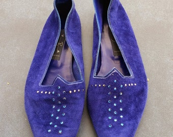 Blue Rhinestone Studded Flats Size 7 Ladies Vintage Shoes