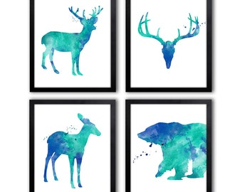 Woodland Animal Art Prints - Bear Art - Antlers - Stag - Fawn - Watercolor Animal Paintings - Woodland Theme Wall Art - WS27