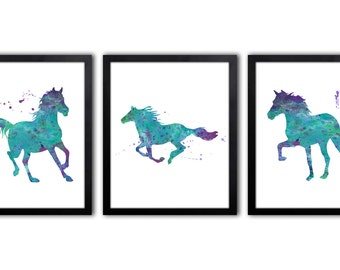Horse Art - Horse Watercolor Painting - Girls Room Art - Wall Art For Girl - Equestrian Art Prints - Horse Riding Decor - HS12