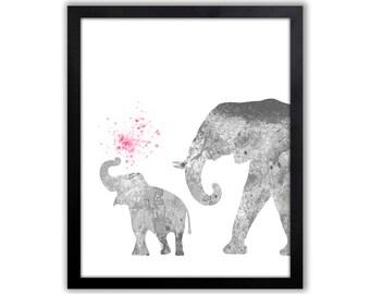 Pink Elephant Art Print For Girls Room