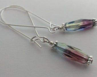 Czech glass bead earrings -green purple & blue