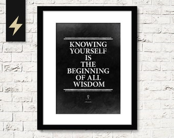 Aristotle quote poster. Know yourself. Encouragement gift. Inspirational print. College dorm room decor. Visual philosophy. Printable art
