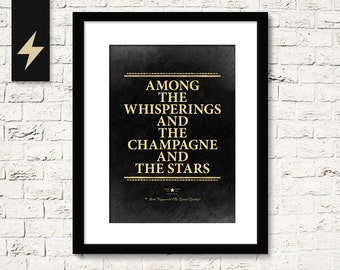 Great Gatsby champagne quote, F. Scott Fitzgerald. The Great Gatsby party decoration. Roaring 20s decor. Black and gold party decor.