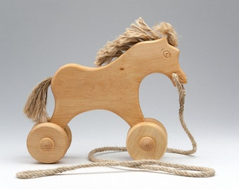 Wood Horse For Children - Carved Horse On Wheels - Horse Toy Wood - Animal On Wheels - Natural - Waldorf Horse - Toy Horse - Horse Push Toy