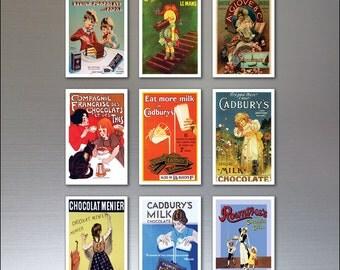 9 Chocolate Vintage Advertising Poster Fridge Magnets - Shabby Chic, Retro