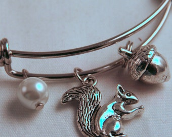 Squirrrel Silver Bangle, Inspired by Charm Bracelet, Greek Mascot Rose, Acorn, Pearl, Sorority sister, Lil sis, Senior, AGD, Alpha Gam, (5