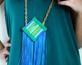 """Handmade Necklace with Blue Fringes """"Blue Jade"""", Fringes Necklace, Blue Necklace, Statement Necklace, Gifts for her"""