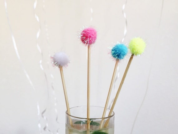 Pom pom cocktail stirrer multicolor pack of 6 by OhShinyPaperCo