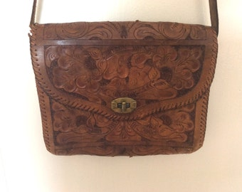 Tanned Tooled Leather Purse